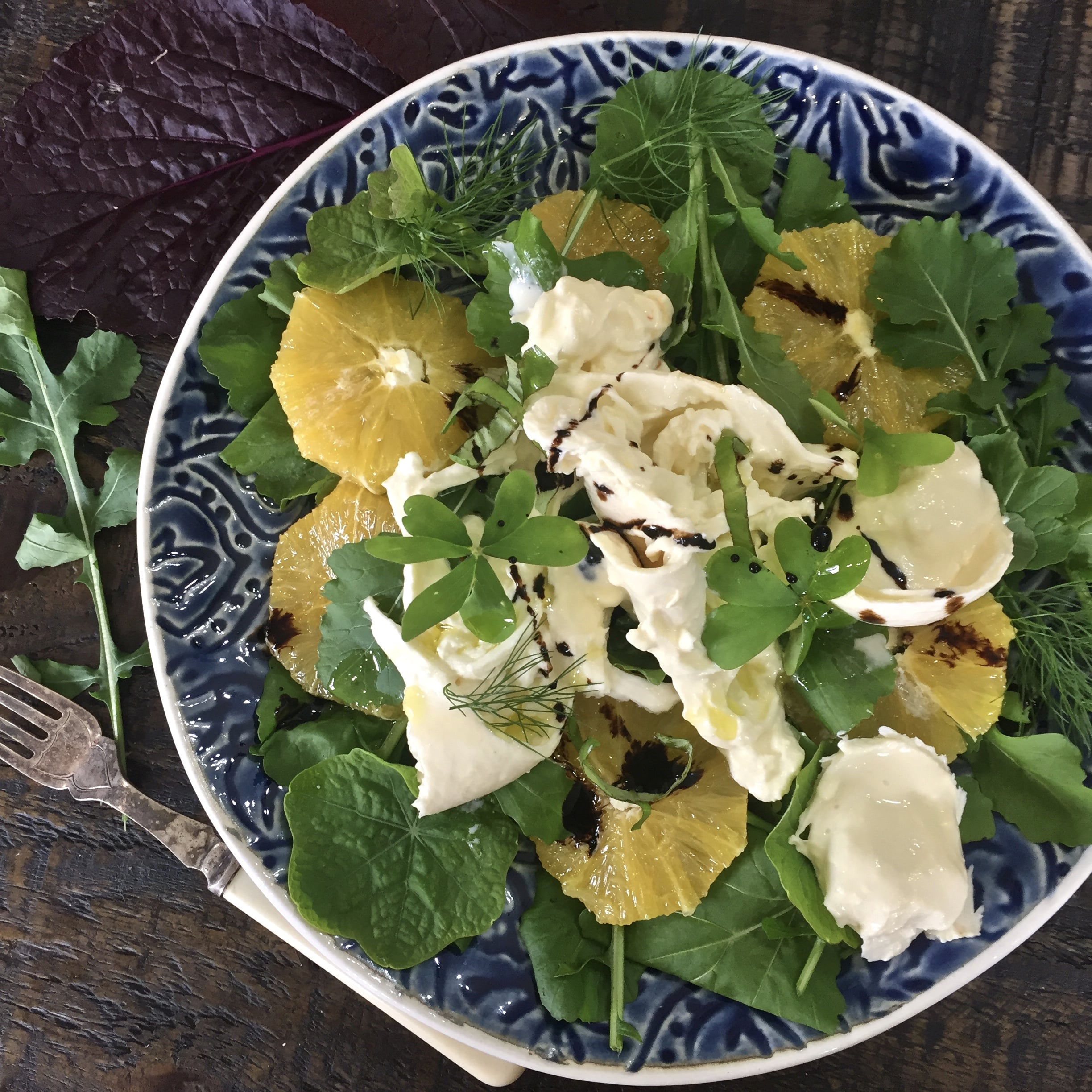 Burrata, Orange with garden salad