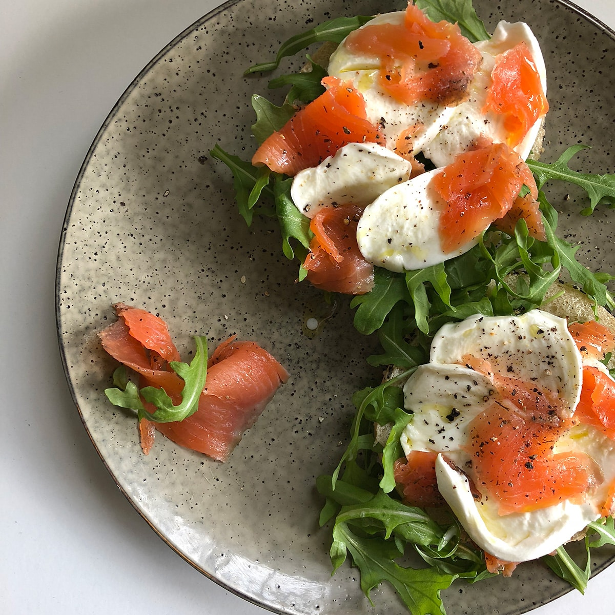 Mozzarella, Smoked Salmon Bagels